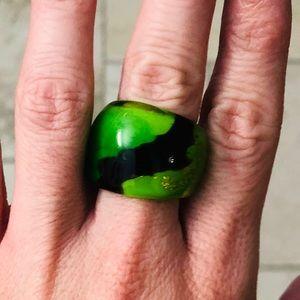 MURANO Glass Ring—Green & Black—Brand NEW